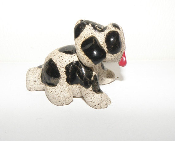 Miniature Dog Whistle, black and white stoneware ceramic sculpture, original and hand made