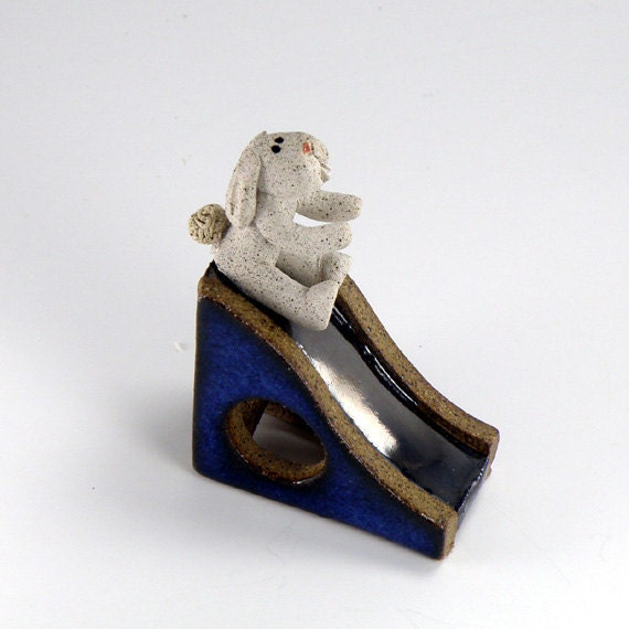 Slippery Bunny Slide, OOAK tiny ceramic sculpture, original for fairy garden or dollhouse   garden miniature   Blue   Chrome