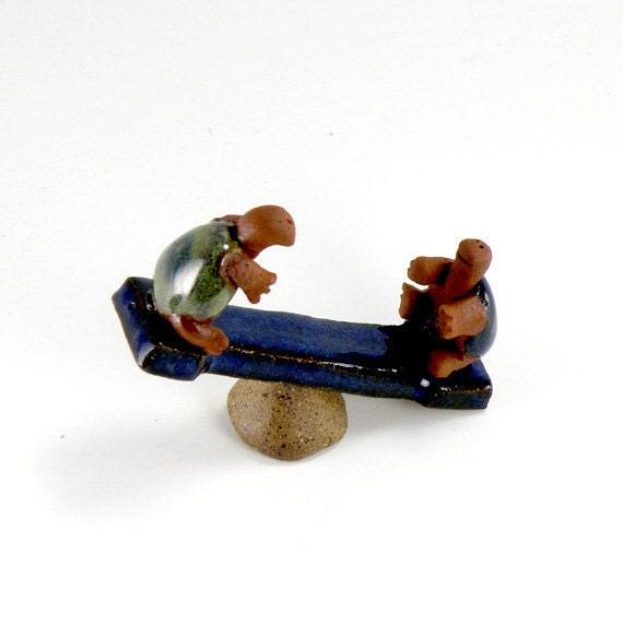 Garden miniature Teeter Totter Turtles, OOAK, hand made tiny ceramic sculpture for fairy garden or dollhouse