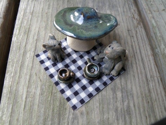Reserved for Amanda - Tea for Two - Tiny Mouse and Rabbit with Miniature Tea Cups and Saucers under Mushroom - Stoneware Sculpture
