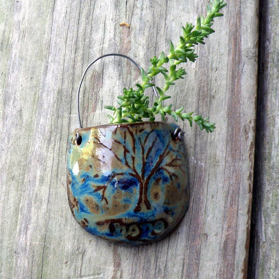 "Tree Pouch Pot with ""hope"" Stamped in the Side - Tiny Ceramic Pocket Pot - Blue - Green - Brown"