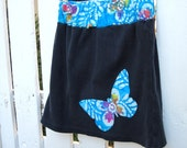 Girls Skirt Upcycled and Applique Butterfly - Blue Batik and Black