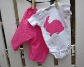 Pink Baby Girl Outfit  - Onesie w/ Pink Bunny Rabbit Applique and Matching Pink Polka Dot Pants Newborn