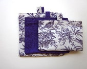 Ecofriendly Reusable Bags, Sandwich Snack Bags Purple and White Aviary & Floral Print 3 Sizes of Bags