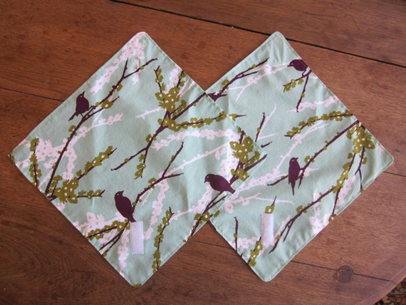 Reusable sandwich wrap /Placemat Napkin Set of 2 - Sparrow print Ready to Ship