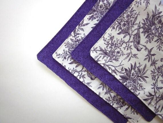 Purple and White Reusable Sandwich Wraps /  Travel Placemat Cloth Napkin
