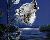Wolf art notecards,  4 pack with envelopes (blank inside), White wolf howling at moon