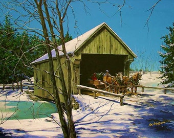 Country art, Covered Bridges, Horse prints, Christmas prints