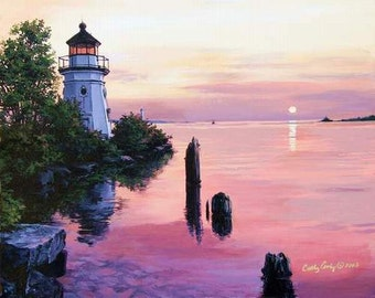 Note cards,New England Lighthouse, Archival Print - Pink- New England Sunset -by Artist Cathy Cooksey