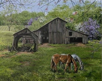 Country wall decor, horse art,  barn pictures, fine art prints