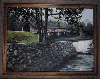 Watkins Mill Covered Bridge in Blue Ridge Mtns by Artist Cathy Cooksey