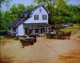 Prater's Mill , old grist mills, country art, limited edition prints