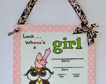 Owl hospital door decorations,  birth announcements  its a  girl, Nursery wall decor