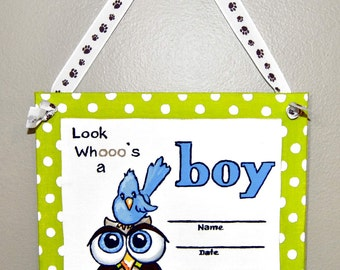 whimsical owl, hospital door decorations, birth announcements its a boy