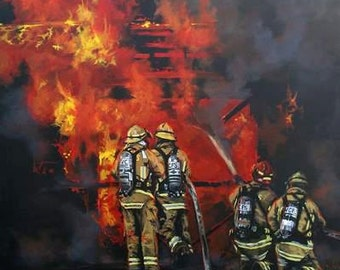 Firefighter Fine Art Print, Structure Fire, Knockdown, Firefighters in Action