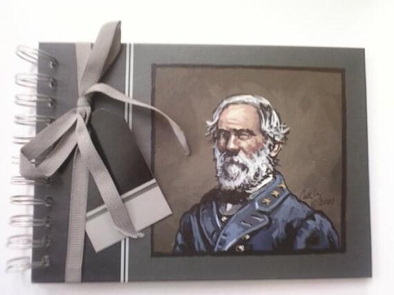 Civil war art, handpainted journal, General Robert E Lee portrait