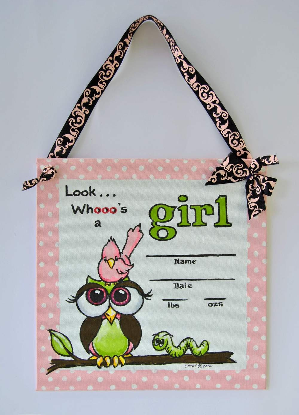 Owl hospital door decorations birth announcements its a for Baby girl hospital door decoration