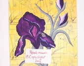 Paper goods card purple iris