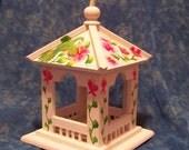 Bird house wooden hand painted hummingbird flower art