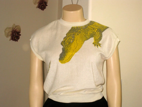 Alligator Print 1950's knit pullover- Front to back print