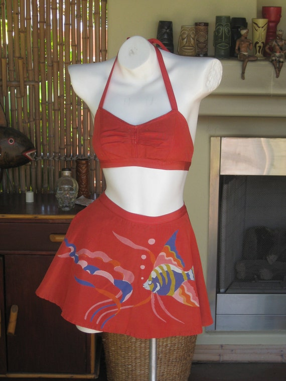 1940s Bathing Suit Bikini Catalina Rare VLV Hand Painted Fish