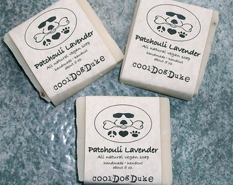 Lavender Patchouli Dog Soap Natural Flea Tick Repellant Moisturizing Aromatherapy Shea Olive Oil All Skin Types Vegan