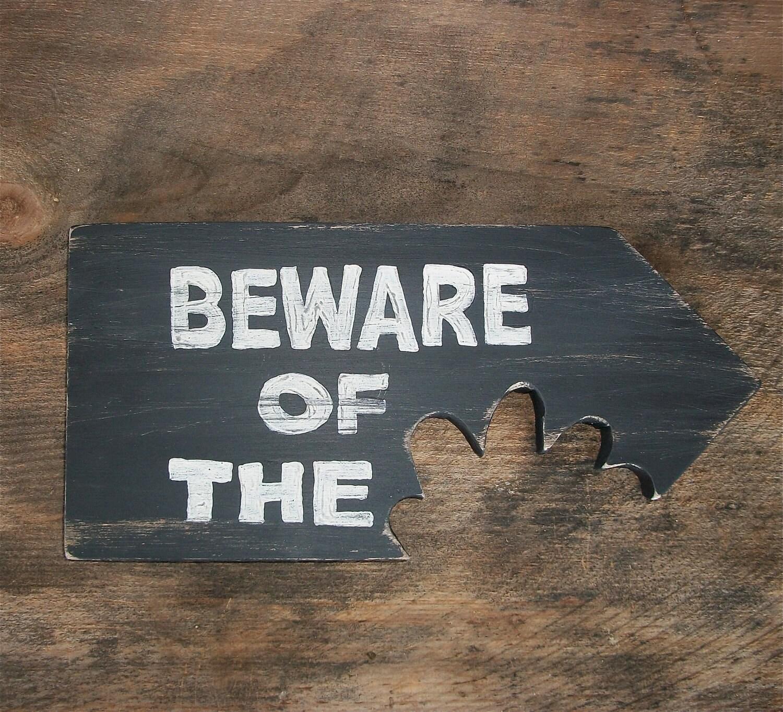 Man Cave Moisturiser : Beware of dog man cave wood sign no girls allowed teeth
