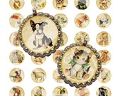1 inch Circles Vintage Retro Animal Kitty Cat Bunny Dog Deer Chick Bird Owl Bottle Caps Button Pin Pendant Label Digital Sheet Images Sh218