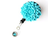 Turquoise Flower - ID Badge Holder - Flower Badge Reels - Designer ID Reel - Nurse Gifts - Pretty Name Badge Clips - BadgeBlooms