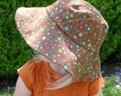 Children's Kids' Reversible Summer Sun Hat - pears apples brown