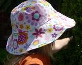 Children's Kids' Reversible Summer Sun Hat - flowers purple