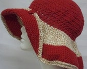 Womans Crochet Hat,   Sun Hat,   Beach Hat,    Red  Cotton,   Spring Summer Brim Hat,   Floppy Brim,  Hand Made