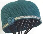Womans Vintage Style Hat,  Crochet  Beanie,   Flapper Style  Hat,  Pima Cotton,   Teal Ribbon Rosette Accent,  Spring Summer Hat