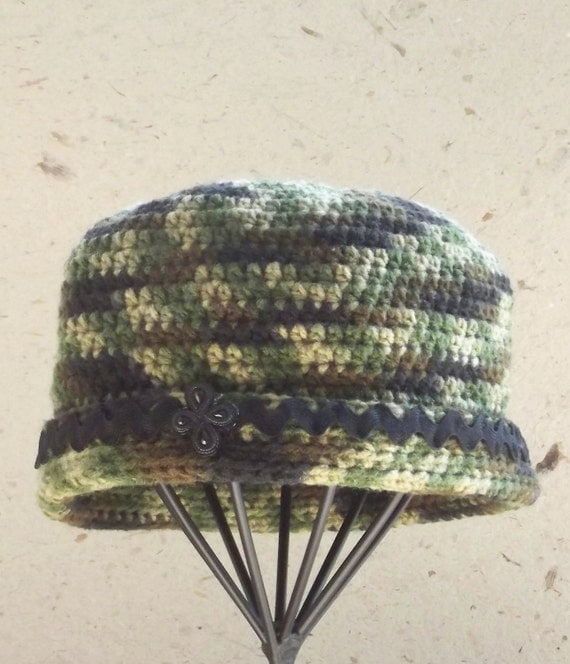 Camo Girl: Womans Crochet Hat, Handmade Camouflage Hat, OOAK, Designed By Sheri