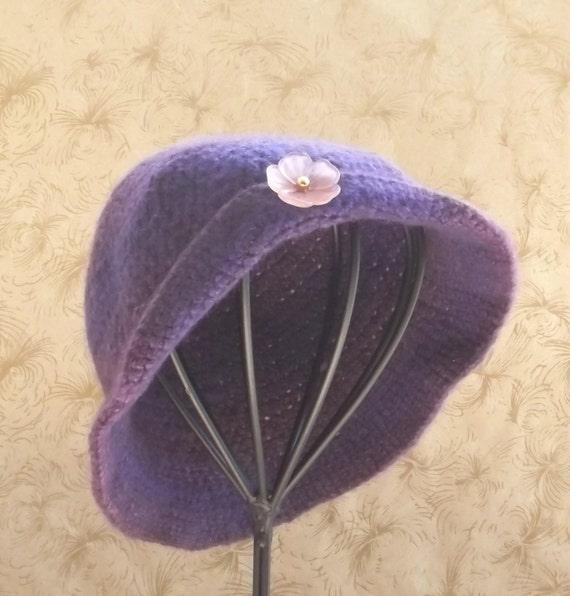 Felted Wool Hat,  Womans Hat,  Crochet Hat,  Hand Made Hat,  Purple Wool,  OOAK,  Unique