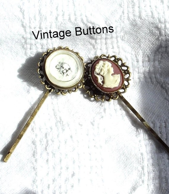 2  Vintage Button Bobby Pins, Handmade Hair Accessory, Cameo Button Hairpin,  Art Deco Style Accessory