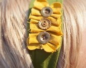 rustic chic inspired stretchy womens headband in green and yellow