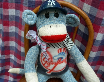 NY Yankee Classic Blue Denim Red Heel Sock Monkey Doll/Handmade