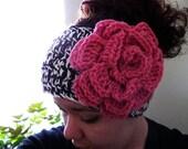 Zebra Headband Earwarmer with PINK Flower