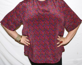 90s MULTICOLORED over-sized, cross- stitch pattered blouse