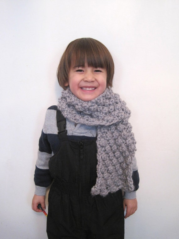 children's chunky scarf light grey or silver unisex