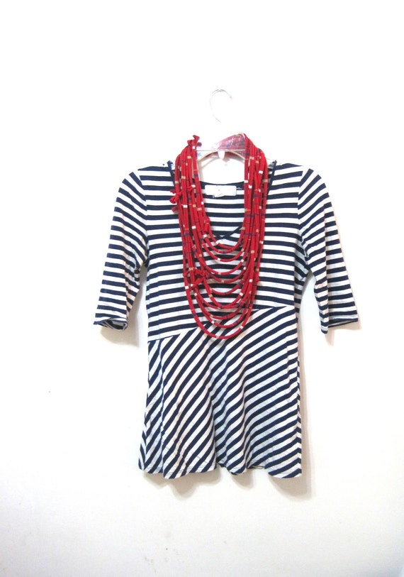 unisex upcycled shirt scarf. jersey rope cowl. red with blue, white, beige stripes. eco friendly.