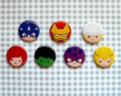 Avengers inspired buttons - pinback or magnets ||| Captain America Iron Man Thor Black Widow Hulk Hawkeye Loki Marvel cute badges pins