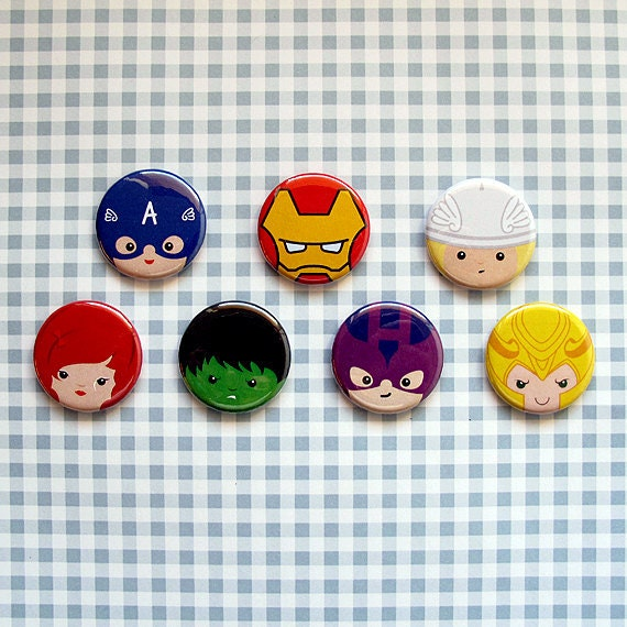 Avengers buttons - pinback or magnets
