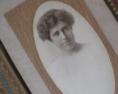Oblong Antique Cabinet Card Photo of Determined Lady - Early 1900s Edwardian
