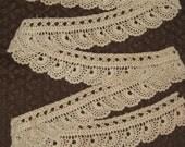 Handmade Dark Ecru Crocheted Lace Trim - Antique Vintage - Coffee With Cream Color