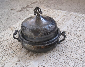 Price Reduced - Antique Silver Plate Sugar Bowl or Candy Dish - Storage, Serving