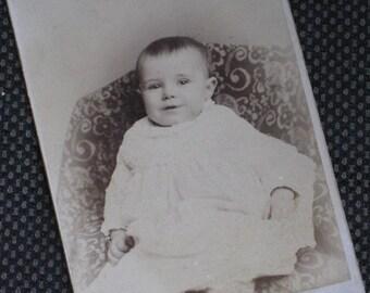 Meet Everitt - Sweet Baby Antique Cabinet Card Photo - Victorian Child