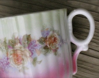 Antique Porcelain Ribbed Cup with Yellow Roses and Lilacs