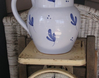 Italian Vintage Ceramic Pottery Pitcher - Hand Decorated Rustic Blue Design
